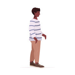 Wall Mural - beautiful african american boy cute child standing pose male cartoon character full length vector illustration