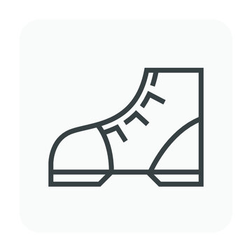 Safety boot or safety shoe vector icon. That footwear is personal protective equipment (PPE) for wear to work in construction site to protection, safe or prevent foot of builder or worker injury.