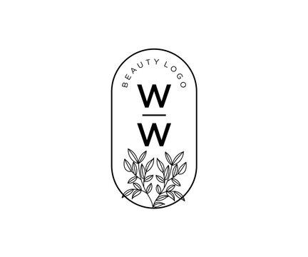 initial WW letters Beautiful floral feminine editable premade monoline.