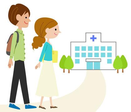 病院に通院する若い夫婦