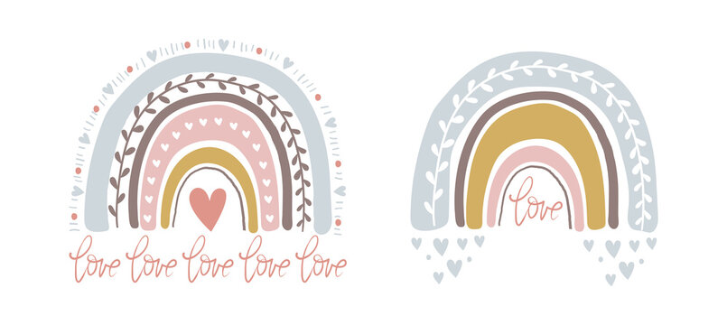 Set of cute illustrations with abstract full color rainbow. Striped arch in vintage pastel colors with hearts. Simple vector clipart illustration isolated on white background