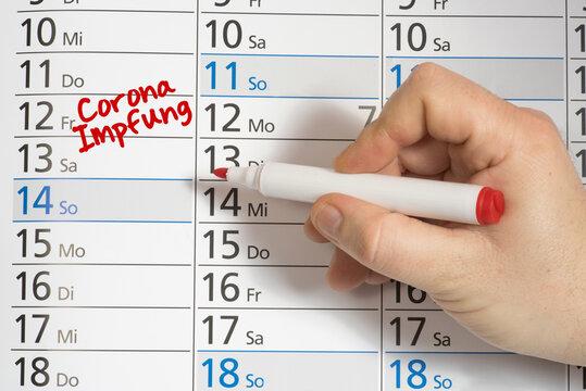 Ein Kalender und Termin für die Impfung gegen Corona Virus