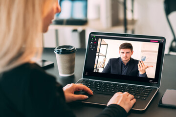 Virtual meeting. Web chat. Professional teleconference. Remote job. Pandemic WFH. Female employee...
