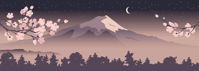 Abstract landscape with mount fuji / Vector illustration, narrow background, blooming sakura, starlight night, japanese landscape
