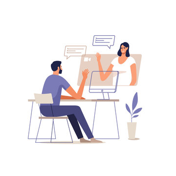 Young man and woman communicate online using a mobile devices. Concept of video call conference, remote working from home or online meeting. Vector illustration.