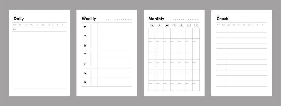 4 Set of the Daily, Weekly, Monthly and Check memo planner. Retro planner Bullet journal memo pad. Clear and simple printable to do list. Realistic vector illustration.