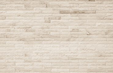 Empty Background of wide cream brick wall texture. Old brown brick wall concrete or stone pattern...