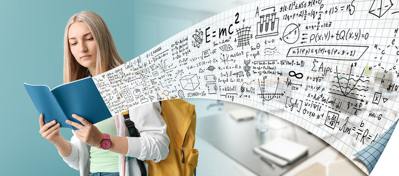 Young woman studying exact mathematical sciences in university. Concept of online education