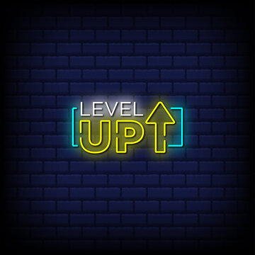 Level up neon signs style text Premium Vector