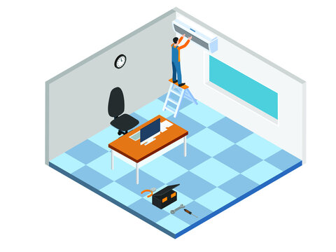 Technician fixing AC isometric 3d vector concept for banner, website, illustration, landing page, flyer, etc.