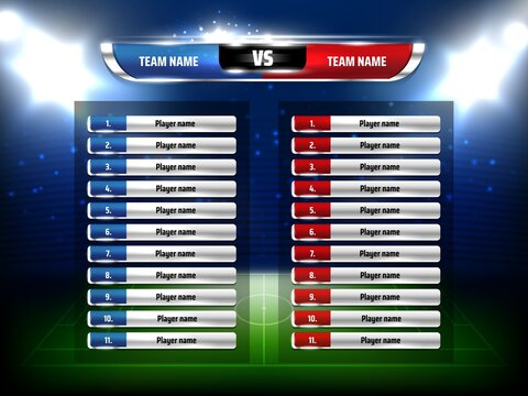Soccer football game scoreboard realistic template. Football league championship game players list, soccer pitch and stadium spotlights 3d vector. Sport tournament team composition information board