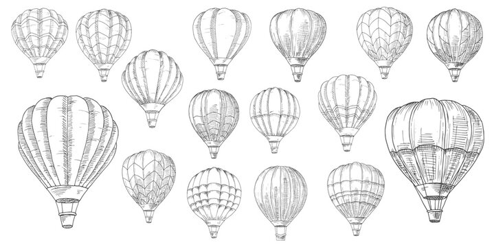 Retro hot air balloons sketches. Vintage lighter than air aircraft, balloon with inflated hot propane gas or helium envelope bag and wicker basket or gondola hand drawn sketch vector set
