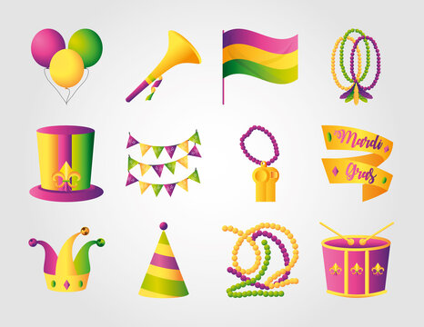 mardi gras decoration and celebration icons set beads balloons flag drum hat and pennants