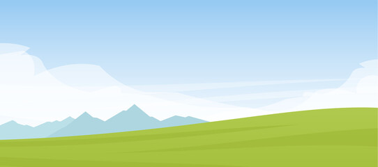 Vector Summer cartoon flat landscape with mountains, hills and green field.