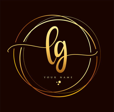 LG Initial handwriting logo golden color. Hand lettering Initials logo branding, Feminine and luxury logo design isolated on black background.