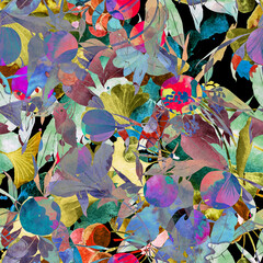 background with flowers abstract art