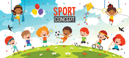 Sport Concept Design With Funny Children
