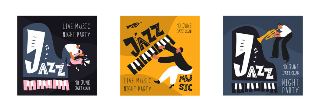 Music set of a jazz orchestra. Musicians play jazz instruments. Stylish jazz lettering. Vector music logos for printing products