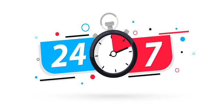 Stopwatch icon, 24/7 service. 24-7 open concept vector illustration. 24/7 Hours a day service icon. 24 hours a day and 7 days a week. Support service Vector stock illustration. Twenty four hour open