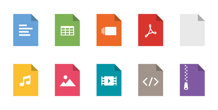 File types flat icon set. Vector file format pictograms pack.