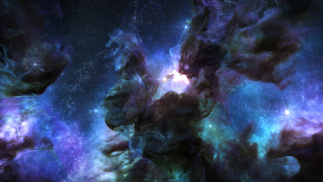 Galaxy Background, with Stars and colorful Nebula Clouds. Outer Space Astronomy image showing an Interstellar Celestial view of the Cosmos beyond The Milky Way.