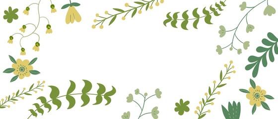 Fototapeta Sfondo bianco con foglie e piante verdi disegnati