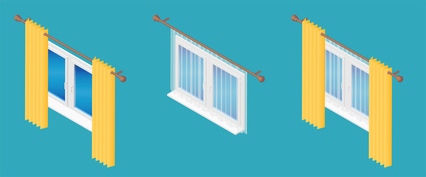 Isometric vector illustration realistic window decorated with transparent tulle and hanging curtains isolated on blue background. Set of various window treatments vector icons in flat cartoon style.