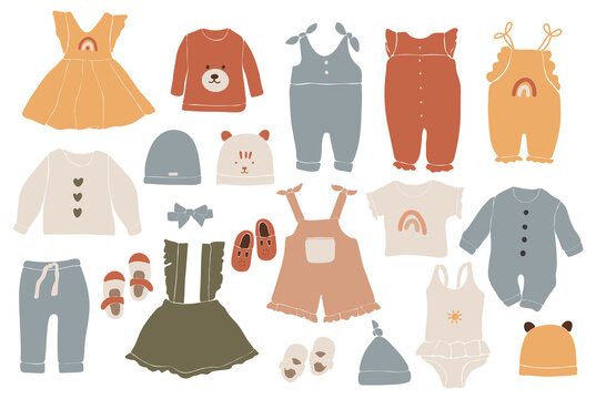 Baby boho clothes, abstract boho clothes, cute minimal wear for children, clothing clipart, vector baby set, abstract elements for kids