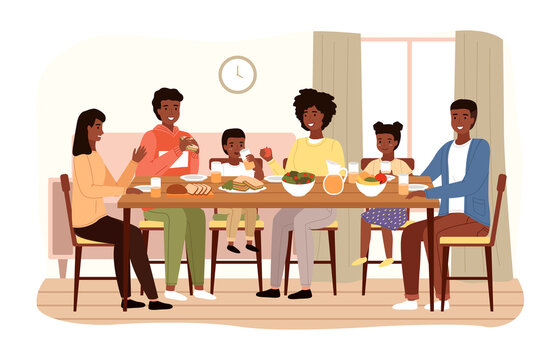 The family dines with healthy food. Relatives eat natural fresh products vector illustration. Afro american people having dinner isolated on a white background. Table with fruit, salad and sandwiches