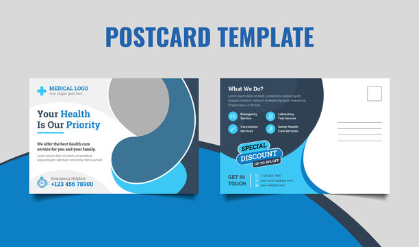 Medical health care postcard template design. Dental care, clinical postcard template.