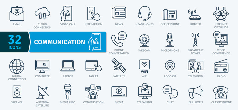 Communication Icons Pack. Thin line icons set. Flat icon collection set. Simple vector icons