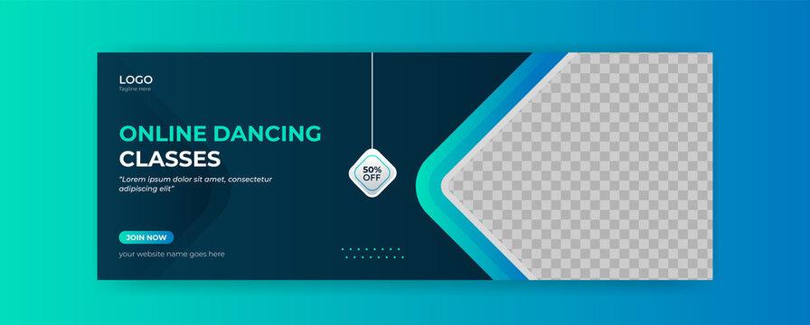 Dancing online class  facebook cover banner webinar template social media post