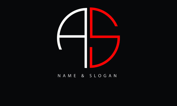 AS, SA, A, S abstract letters logo monogram
