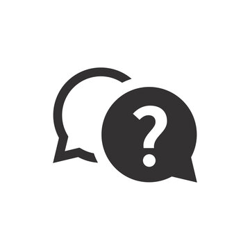 Help, chat support black vector icon. Speech bubble with question mark button symbol.