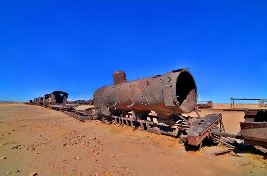 The train cemetery, Salar de Uyuni or salt desert of Uyuni, Bolivia, South America