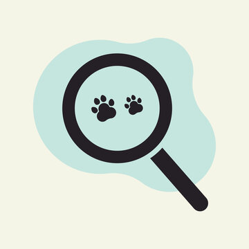 Magnifying glass looking for cat footprints icon design vector illustration