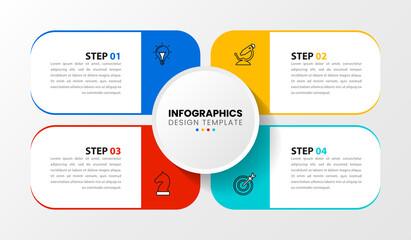 Fototapeta Infographic design template. Creative concept with 4 steps obraz