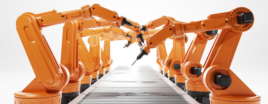 new normal and Futuristic Technology for industry 4.0 concept.Automation robot arm and ai (artificial intelligence),big data,digital twin,5g,network,iot,ar in factory.3D rendering and illustration.
