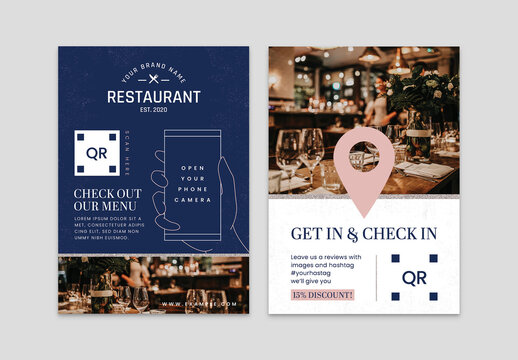 Restaurant Card Layout in Pink Blue