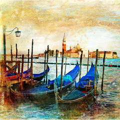 view of Grand canal in Venice. Italy. artwork in painting style.
