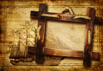 Vintage background in adventure stories style with old wooden blank frame for photo
