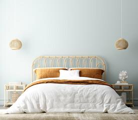Coastal boho style bedroom interior background, wall mockup, 3d render