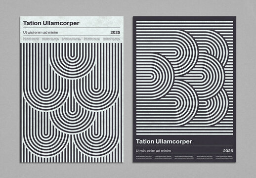 Monochrome Geometric Poster Layout in Mid-Century Modern Style