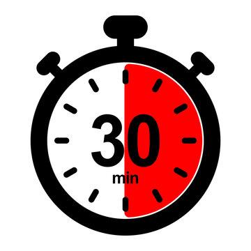 nswi30 NewStopWatchIcon nswi - english - timer and stopwatch icon. - countdown timer. - 30 minutes - simple black pictogram - xxl e10090