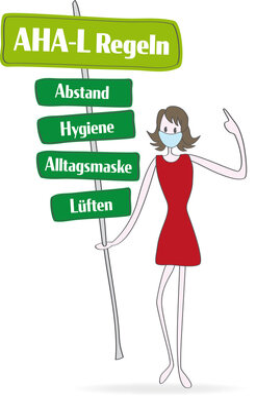 Corona   Covid-19: AHA-L Regeln auf Schild. Abstand - Hygiene - Alltagsmaske - Lüften