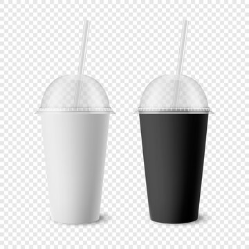 Vector 3d Realistic White, Black Paper Disposable Cup Set with Lid, Straw for Beverage, Drinks Isolated. Coffee, Soda, Tea, Cocktail, Milkshake. Design Template of Packaging for Mockup. Front View