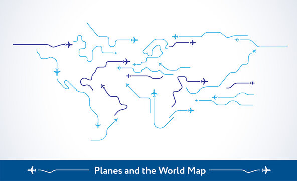 Abstract background - Airplanes fly over the world map - Planes routes shape the world air travel concept, line art vector illustration in modern minimal style