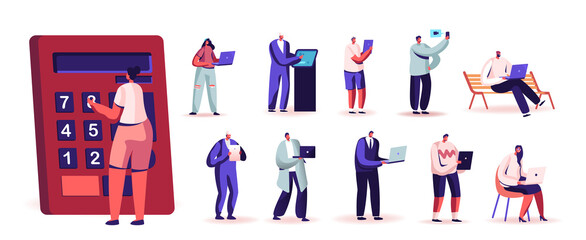 Set People with Digital Devices. Tiny Male and Female Characters Hold Huge Calculator, Laptop, Smartphone and Tablet