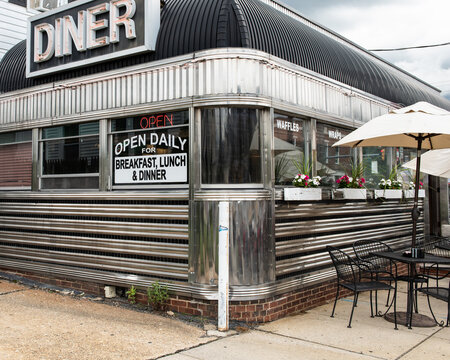 Original, vintage diner in chrome.