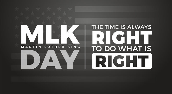 Martin Luther King Jr. Day typography lettering background - design with inspirational Martin Luther King's quote - US flag background for MLK poster, banner